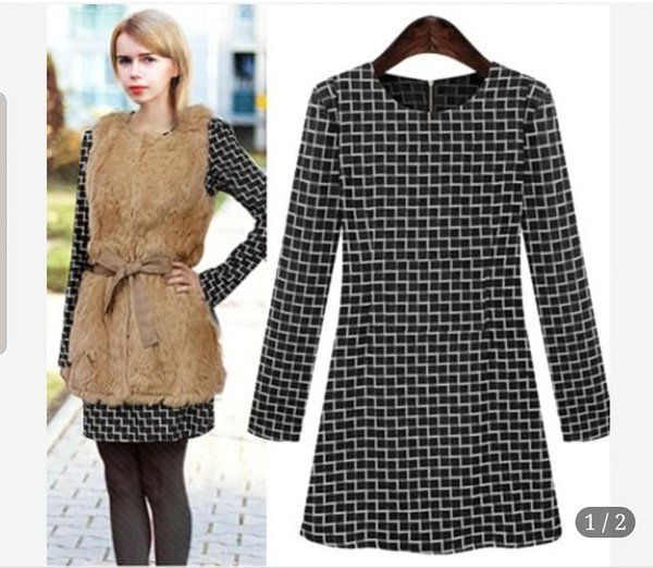 Molly - plaid long sleeve winter dress picture