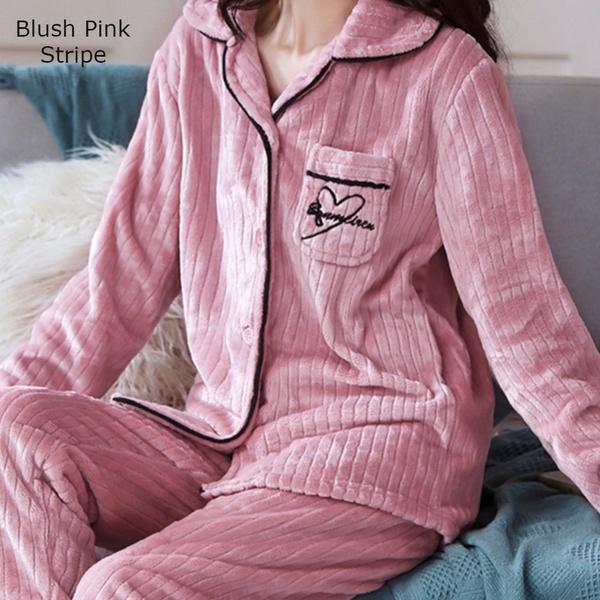 Double plush ladies extra thick fleece silky pajama set blush pink stripe picture