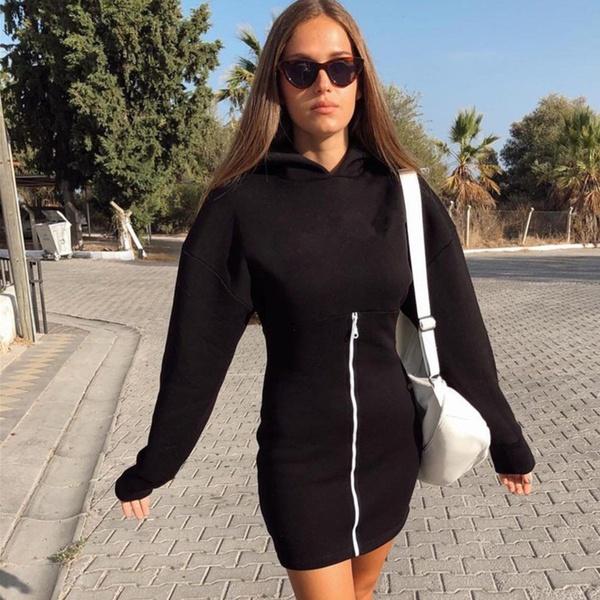 Brooklyn zipper hoodie tracksuit style jersey dress black picture