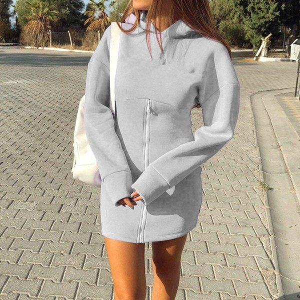 Brooklyn zipper hoodie tracksuit style jersey dress grey picture