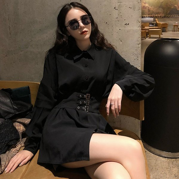 Charlotte belted button up shirt collar 3 quarter sleeve dress black picture