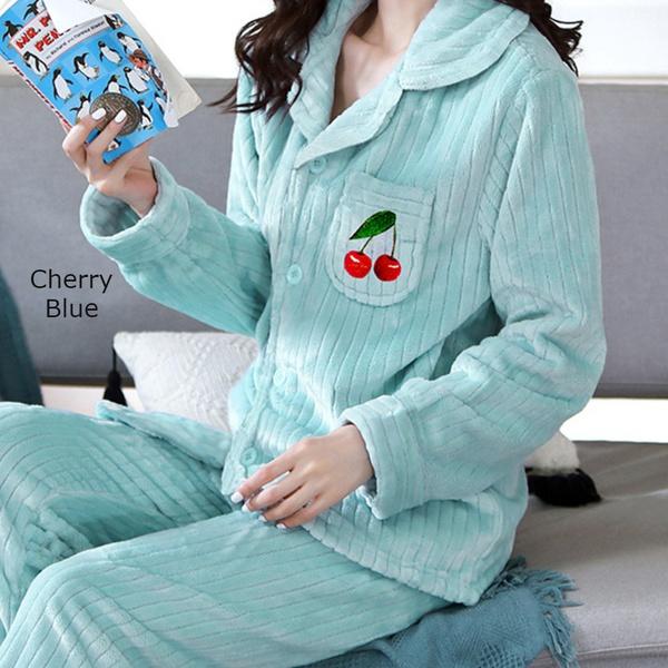 Double plush pajama set - cherry blue picture