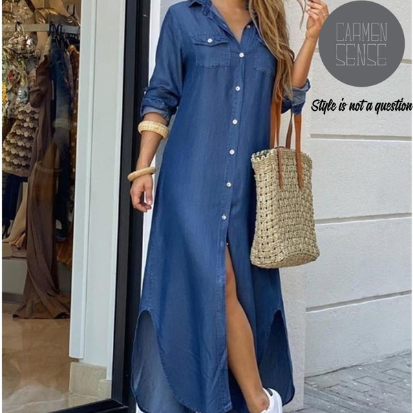 Chevonna -  bohemian denim print dress picture