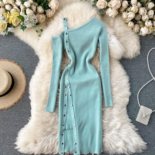 Cindy knitted asymmetrical pencil dress teal picture