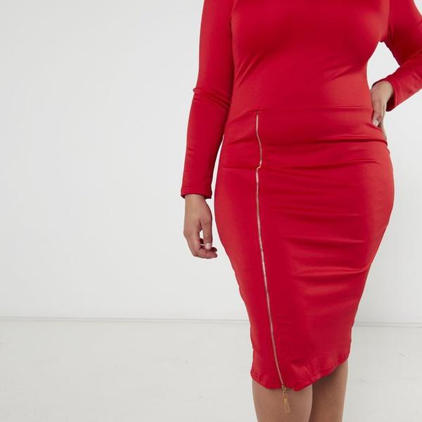 Trina zipper pencil dress - red picture