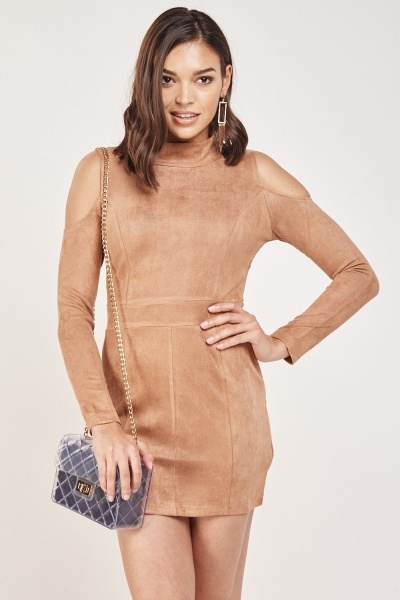 Kimmy - suede dress tan picture