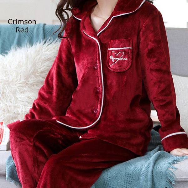Double plush ladies extra thick fleece silky pajama set crimson red picture