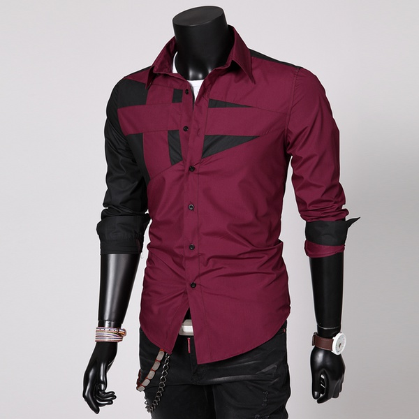 Diego long sleeve men slim fit collar button up abstract shirt crimson red picture