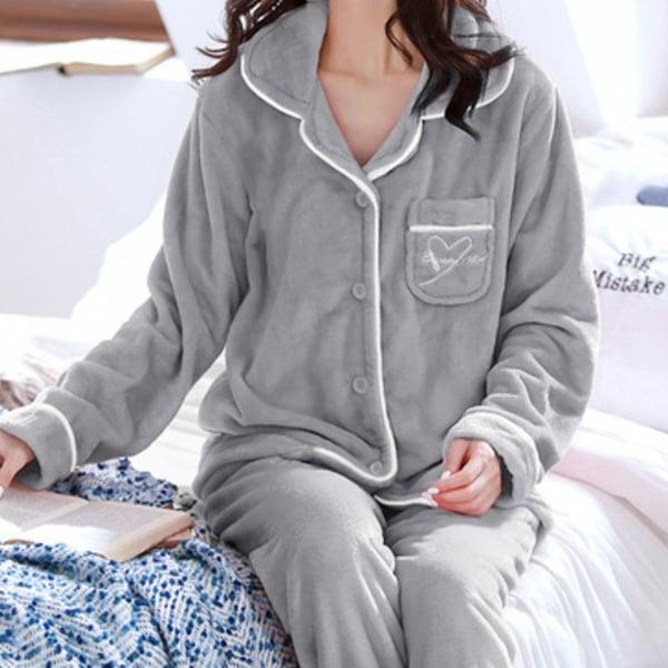 Double plush pajama set - silver grey picture