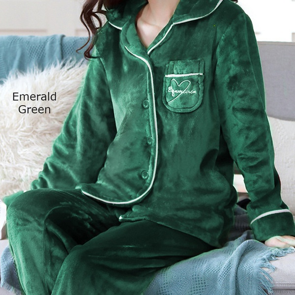 Double plush ladies extra thick fleece silky pajama set emerald green picture