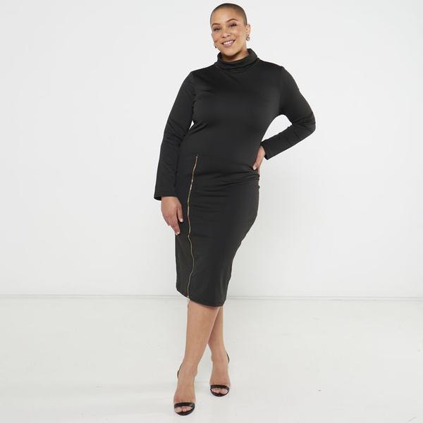 Trina zipper pencil dress - black picture