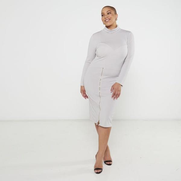 Trina zipper pencil dress - grey picture