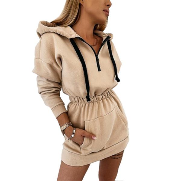 Gracie ladies jersey sweater tracksuit long sleeve winter hoodie dress khaki picture