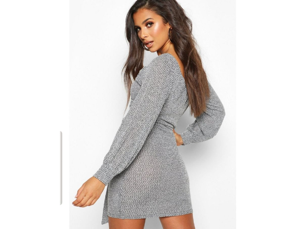 Jenni plaid effect fabric long sleeve sash mini dress grey picture
