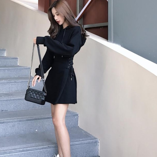 Jessica hoodie side lace up tracksuit style dress black picture