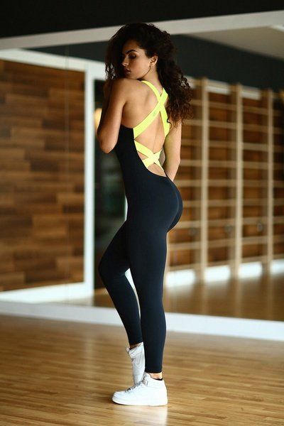 Rebecca - lumo yellow fitness jumpsuit picture