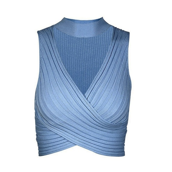 Knitted halter cross chest tank top sky blue picture