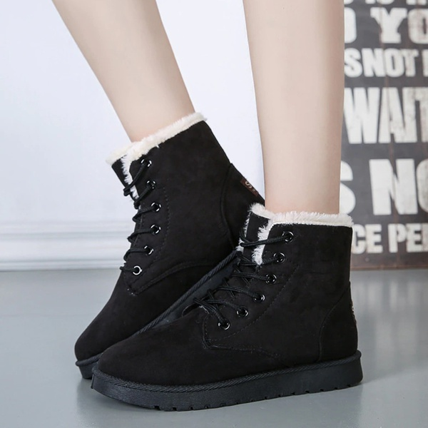 Maggie faux suede ladies ankle boots black picture