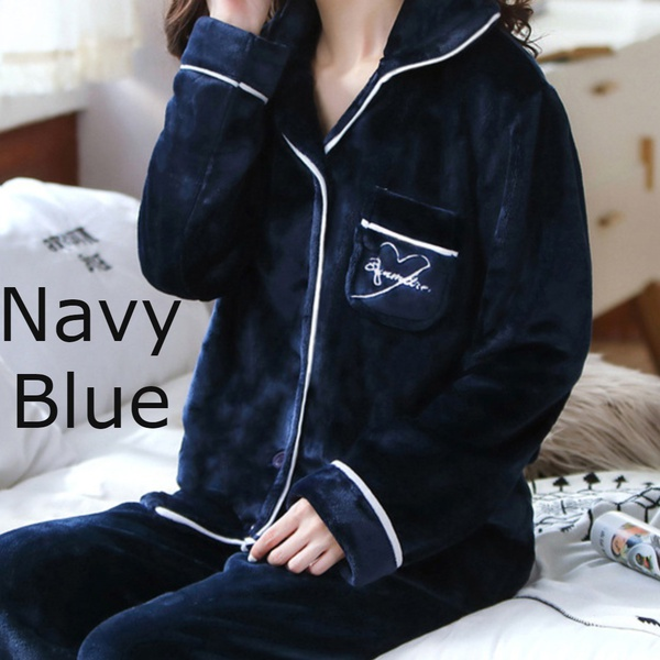 Double plush pajama set - navy blue picture
