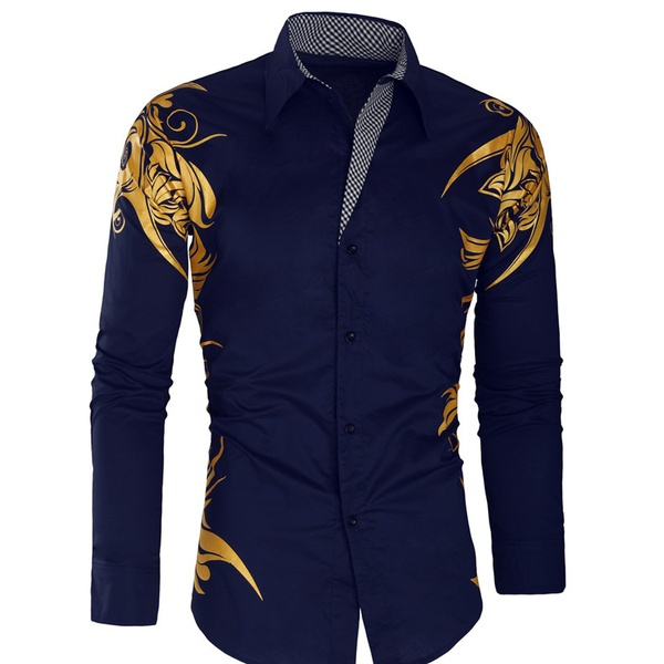 Navy/gold mens formal shirt picture