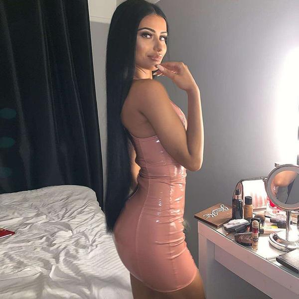 Monica - leather pencil dress picture