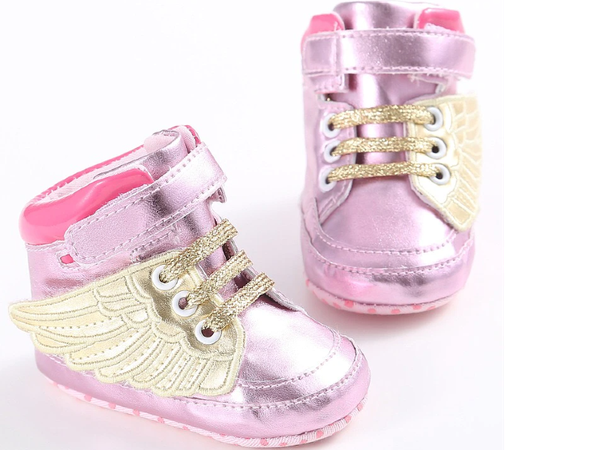 Baby gold winged angel shoes picture