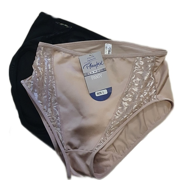Playtex 2 pack miracle high-leg panties - black/oyster picture