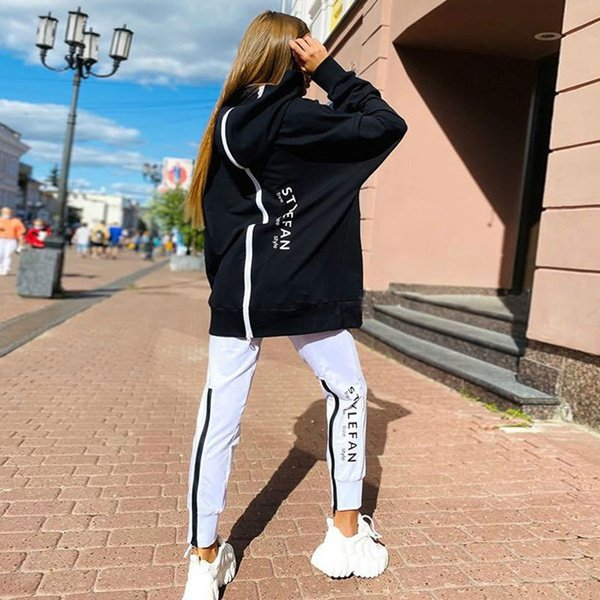 Reversible hoodie tracksuit - black/white picture