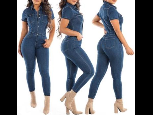 Shayna denim jumpsuit with belt picture