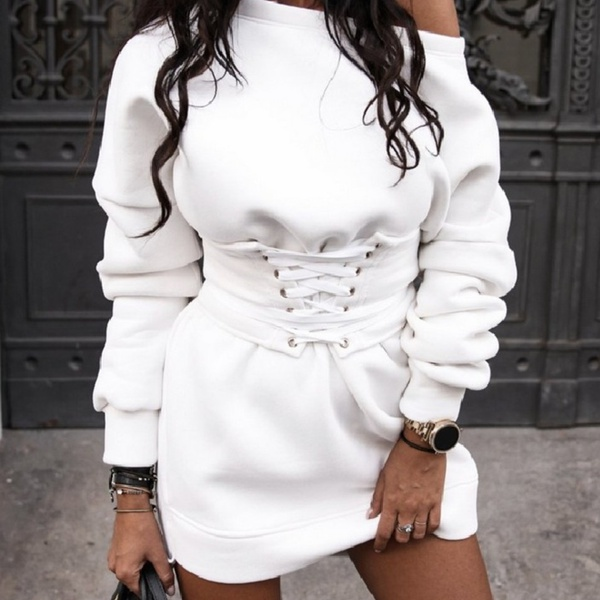 Stacey corset band dress white picture