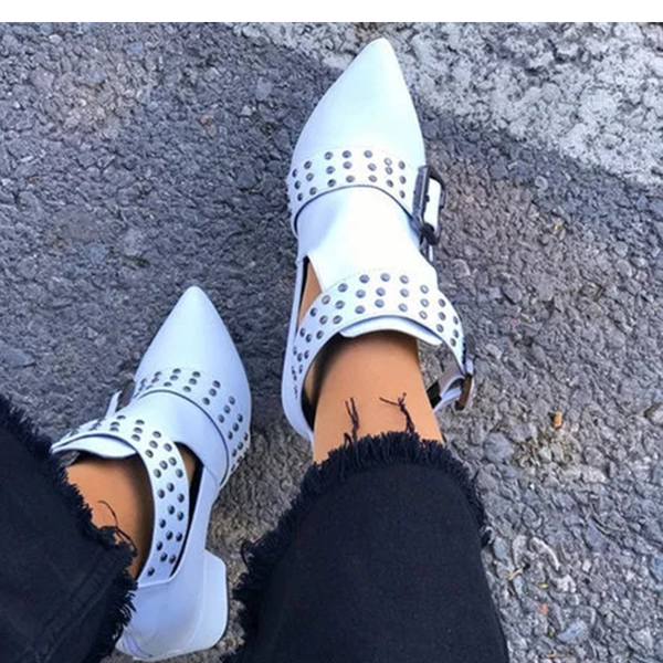 Studded buckle vintage ankle boots - white picture