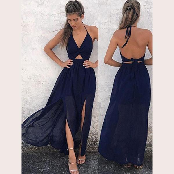 Tayla maxi side slit bohemian style halterneck dress navy blue picture