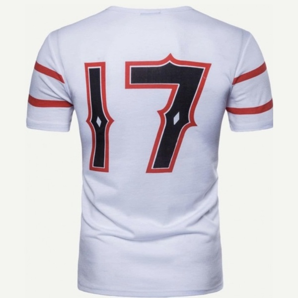 Trip star men's short sleeve shirt 17 logo red and white picture