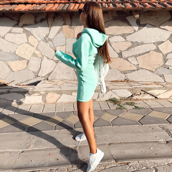 Brooklyn zipper hoodie tracksuit style jersey dress teal picture