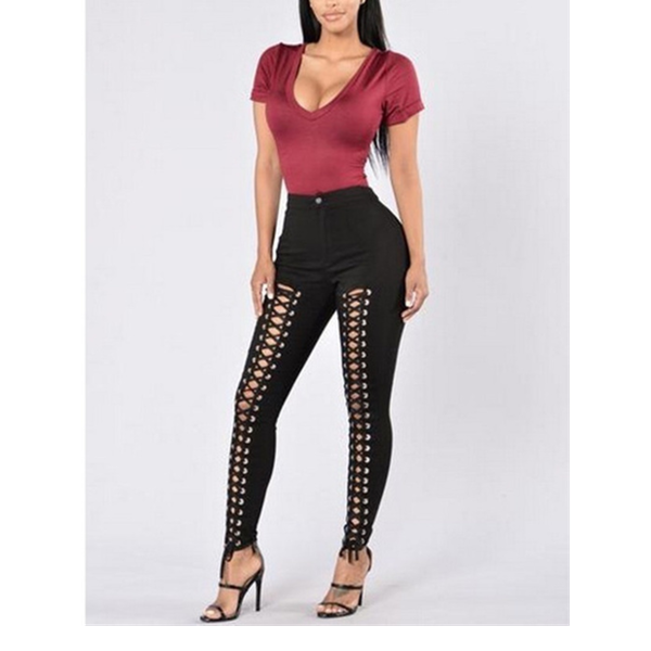 Chaney - black lace up pants  button up top trousers, picture