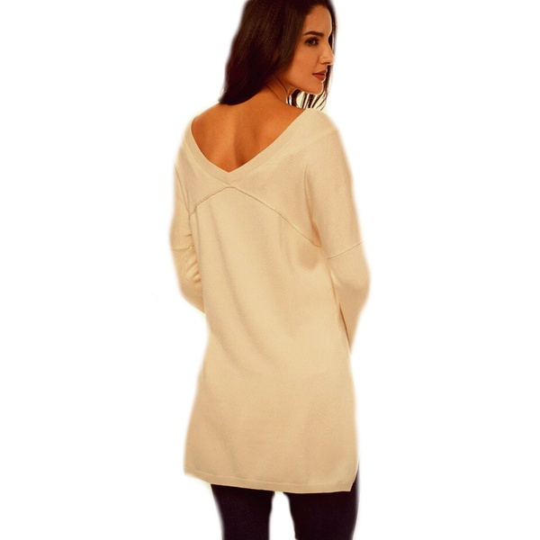 Abbey v neck open back ladies sweater jersey beige picture