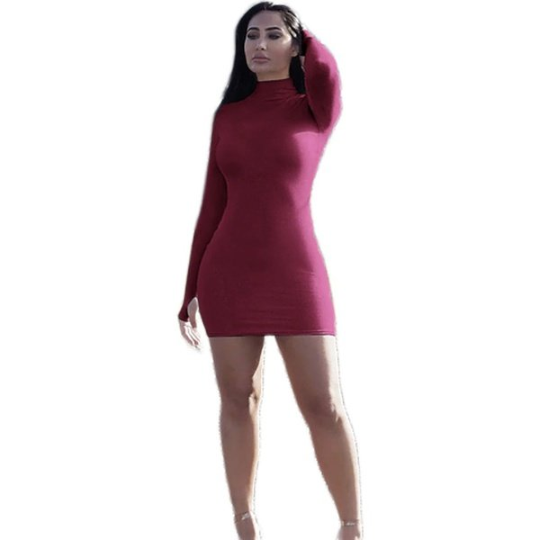 Alison winter gloved high neck long sleeve bodycon mini dress - burgundy picture