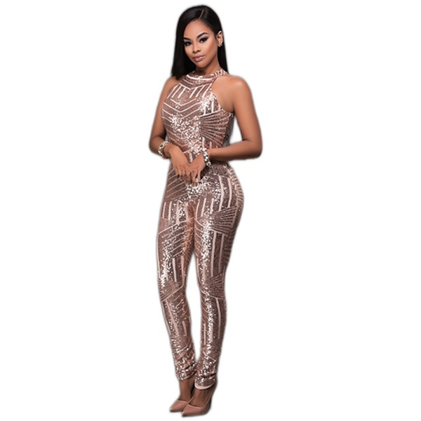 Amoura shimmer celebrity style event occasion  jumpsuit rose gold picture