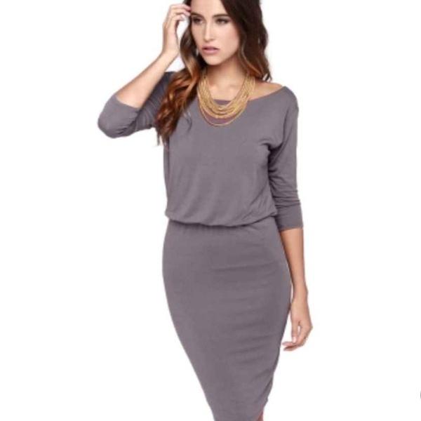 Jelena - elasticated waist grey 3/4 sleeve open back pencil dress picture