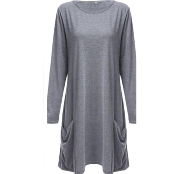 Millie pocket long sleeve loose fit dress grey picture