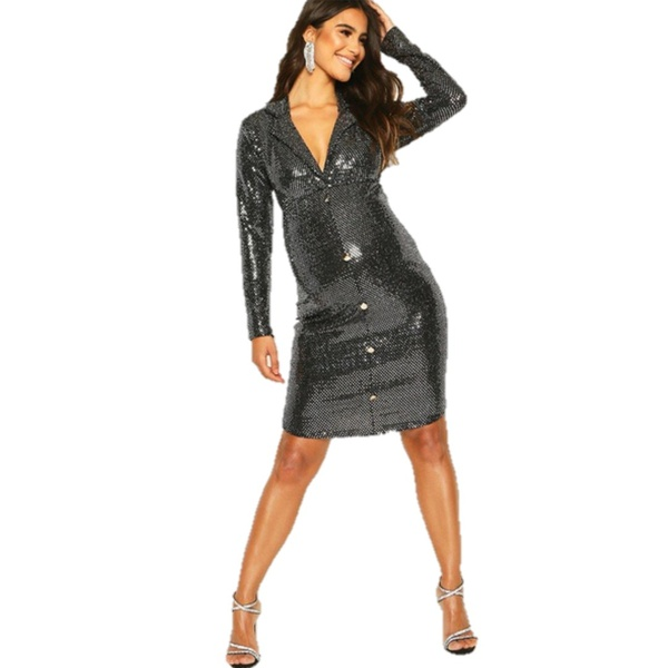 Sadie - maternity sequin blazer dress picture