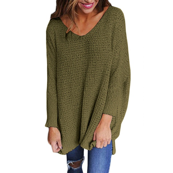 Sharon v neck oversize style ladies jersey sweater khaki green picture