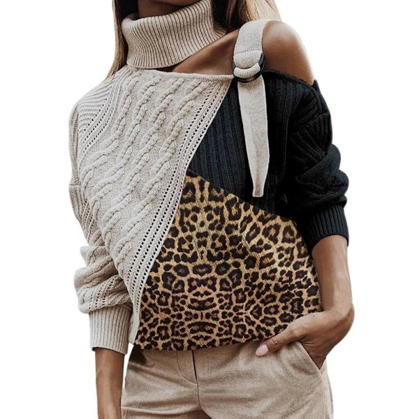 Tara tiger print abstract turtle neck ladies sweater jersey black picture