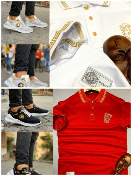 Versace golf tshirt and sneaker picture