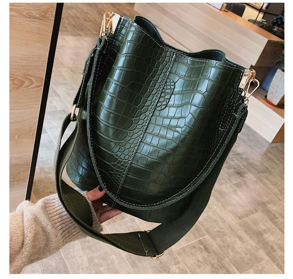 Green leather handbag picture