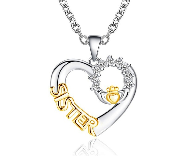 Sister heart necklace picture