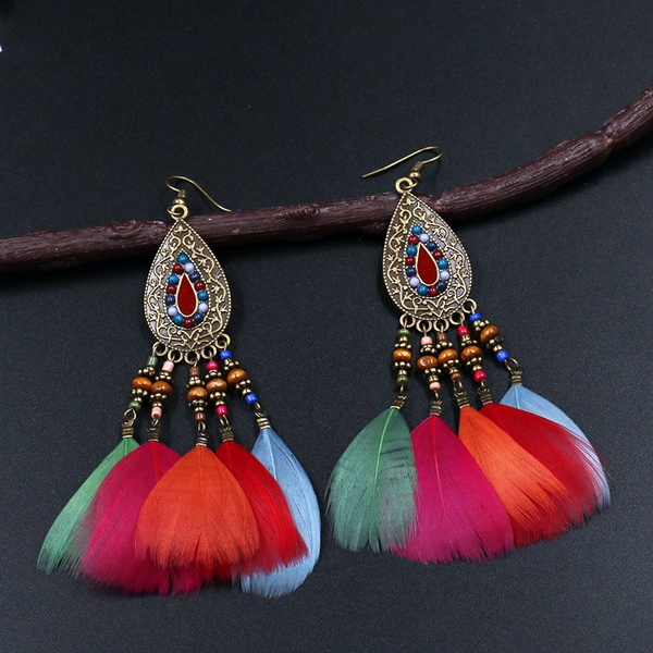 Earrings with feather decoration picture