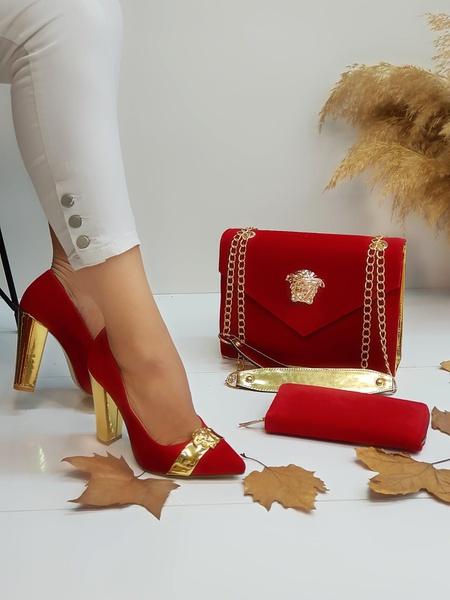 Red block heels picture