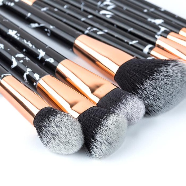 10 piece marble make-up brush set picture