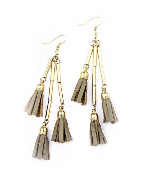 Tassel earrings - grey/tan picture